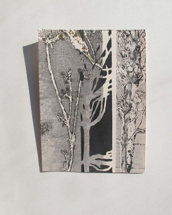 Small original botanical monoprint. Nature by fieldandhedgerow