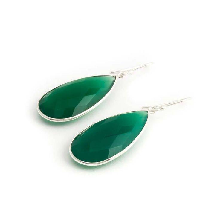 De Vogue Groene oorbellen met chalcedoon in sterling zilver