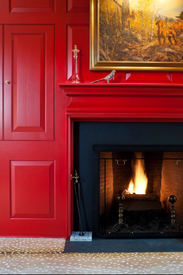 Painted Wood Paneling: Dark Wood Paneling Painted A Dramatic Red...
