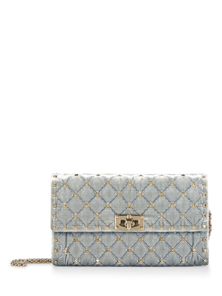 VALENTINO Valentino Garavani Rockstud Quilted Velvet Shoulder Bag. #valentino #bags #shoulder bags #leather #silk #velvet #