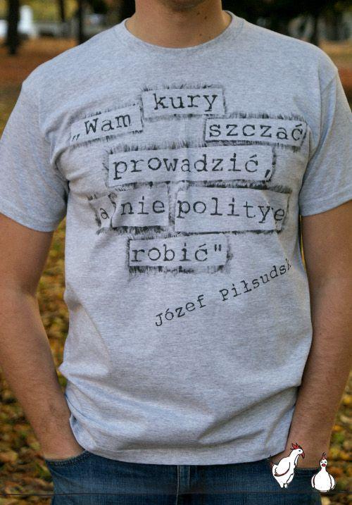 """Ręcznie malowany T-shirt """"Wam kury szczać prowadzić, a nie politykę robić!"""" *** Hand painted T-shirt - politics"""
