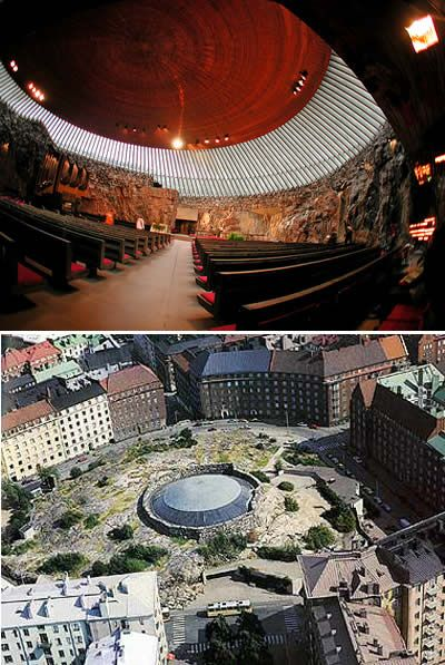The Temppeliaukio Kirkko (Rock Church) is a thrilling work of modern architecture in Helsinki. Completed in 1952, it is built entirely underground and has a ceiling made of copper wire.