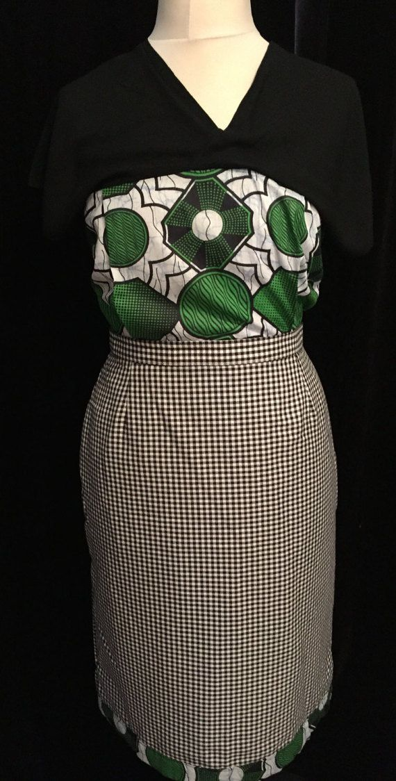 Fusion Green and white African print pencil dress with black and white check…