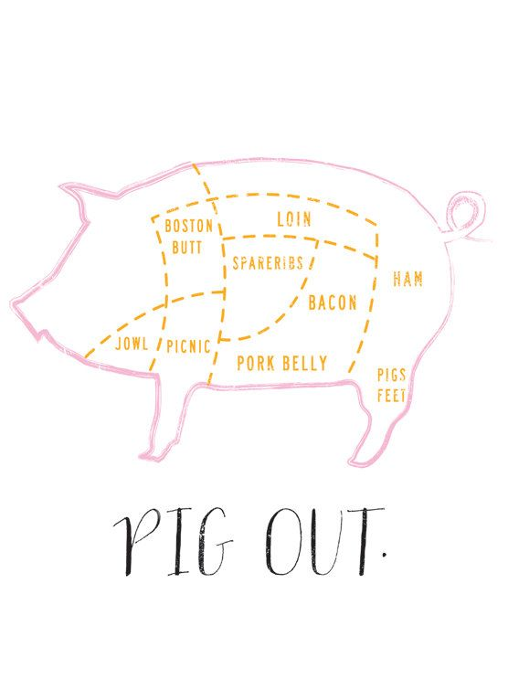 Pig Out graphic culinary art illustration by FowlerCreativeArts