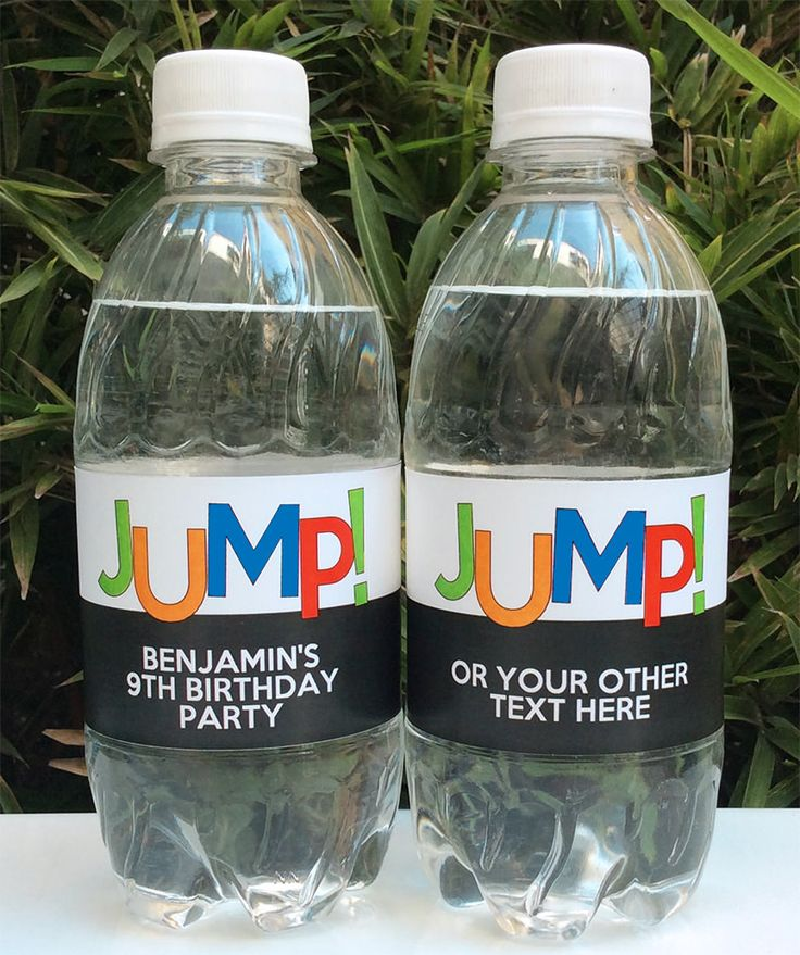 Trampoline Party Water Bottle Labels