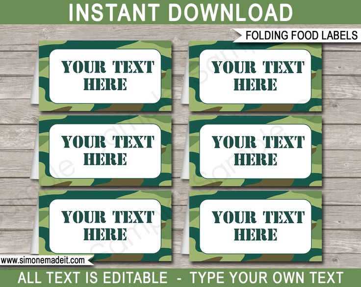 Printable Green Camo Food Labels | Food Buffet Tags | Tent Cards | Place Cards | Army Theme Birthday Party Decorations | DIY Editable Template | Instant Download via simonemadeit.com