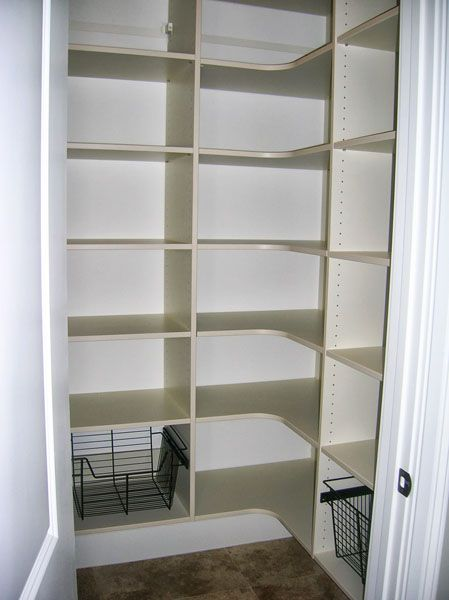 pantry with corner shelves and straight shelves - like the baskets