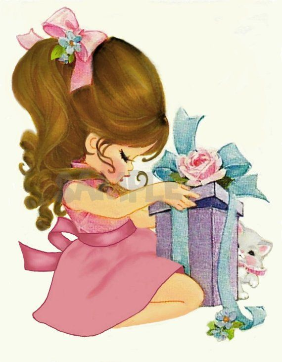 Vintage Girl with Gift Brunette, Birthday, Christmas, digital, download, printable, greeting card image