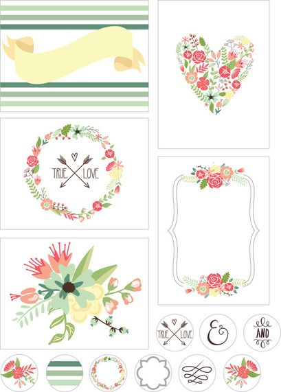 Gorgeous pretty florals pdf to download - hearts, wreaths, banners - loads of uses - cards, tags, place cards, stickers etc! Thk you to the Creative Monster!