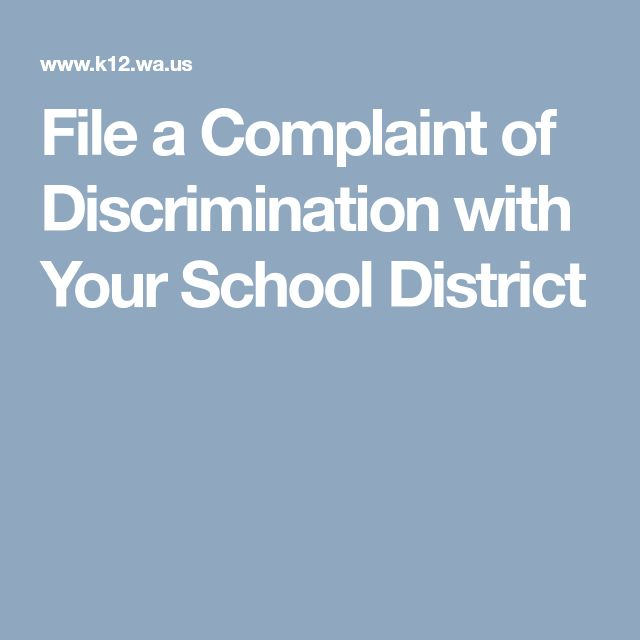File a Complaint of Discrimination with Your School District