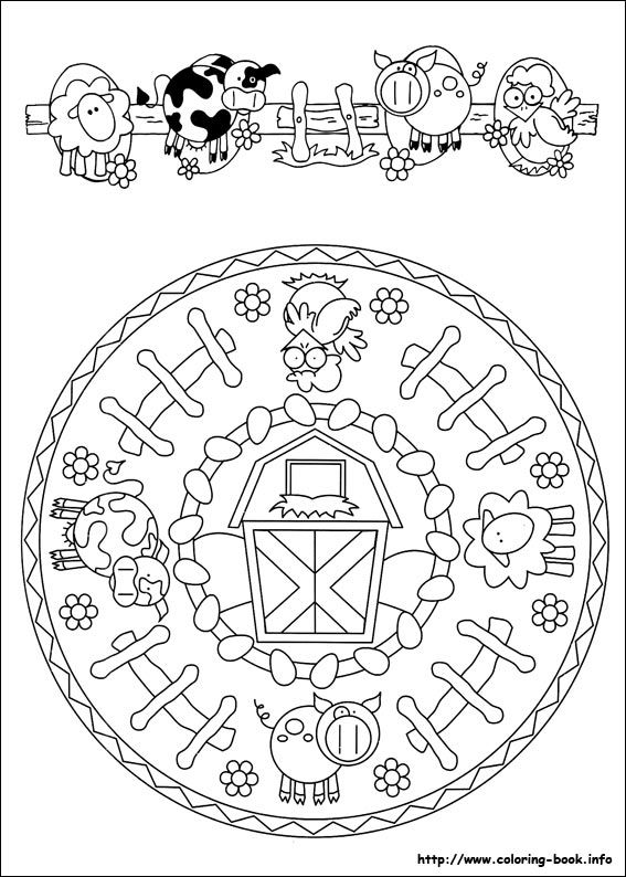 Mandala farm coloring... ** this would make a great kitchen clock for a…