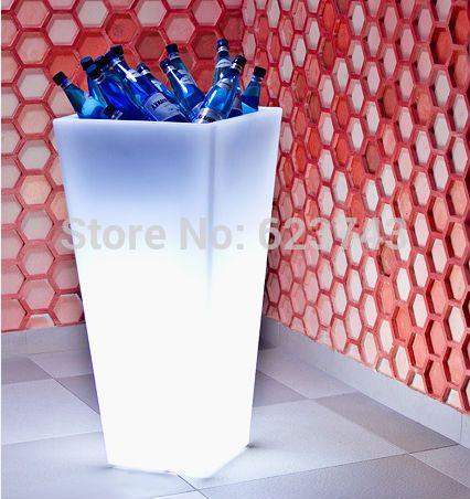 H50cm 24 chaves remoto 16 cores Led iluminado balde de gelo quadrado impermeável, Deslizamento Y - pote planta flor brilho Led LIGHT Up móveis alishoppbrasil