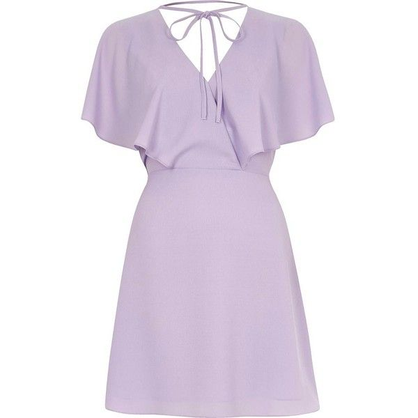 River Island Light purple tie neck cape dress ($80) ❤ liked on Polyvore featuring dresses, purple, swing dresses, women, neck ties, purple necktie, lavender purple dress, neck-tie and tie neck tie