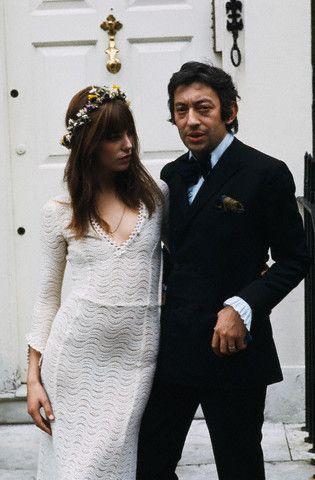 Jane Birkin et Serge Gainsbourg à leur mariage - La Fiancée du Panda blog Mariage & Lifestyle