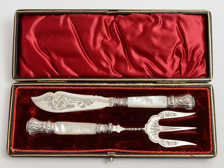 Victorian silver plated Butter Knife & Bread Fork Set. (ID 47270) by…
