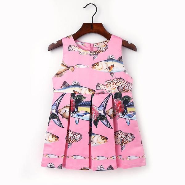 2-6Y Fashion Children Fish Printed Dresses Kids Clothes Funny Pattern Princess Dress Baby Girls O-neck Sleeveless Clothing