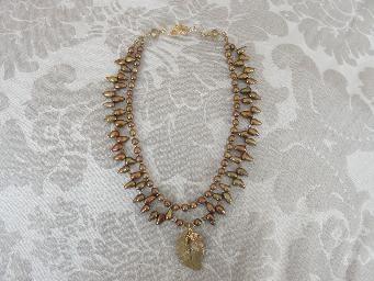 Kartisim Design Jewelry-bronze metal clay leaf pendant and bronze freshwater pearls