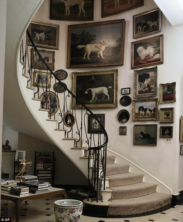 Art Frames on a white background along a stairway