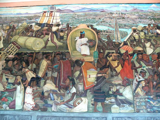"""El mercado de Tlatelolco por Diego Rivera / By Wolfgang Sauber (Own work) [GFDL or CC BY-SA 3.0], via Wikimedia Commons"