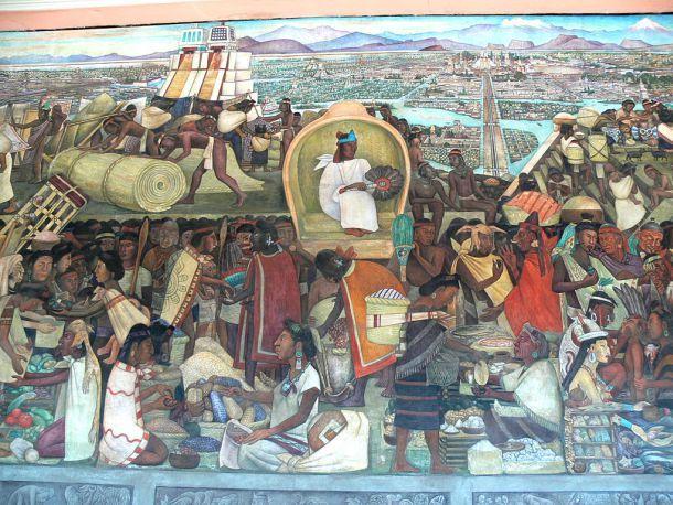 """El mercado de Tlatelolco por Diego Rivera / By Wolfgang Sauber (Own work) [GFDL or CC BY-SA 3.0], via Wikimedia Commons"