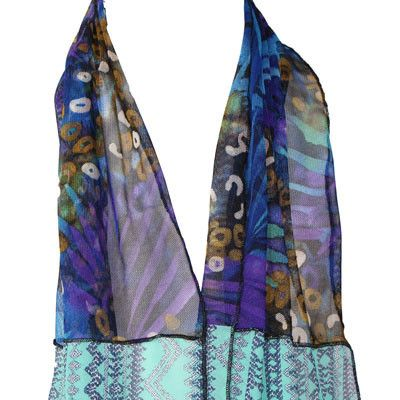 An affordable and elegant multicoloured Australian Made scarf for women. Julian Reddish scarves are up-cycled from a mixture of new off cuts, left over fabrics.
