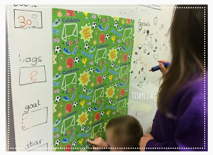 Wrapping paper makes a great simple counting and recording activity.