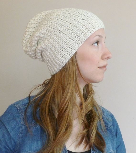 Slouchy Ribbed Beanie Hat Cream, Women's Slouchy Hat, Men's Slouch Hat,  Unisex Knitted