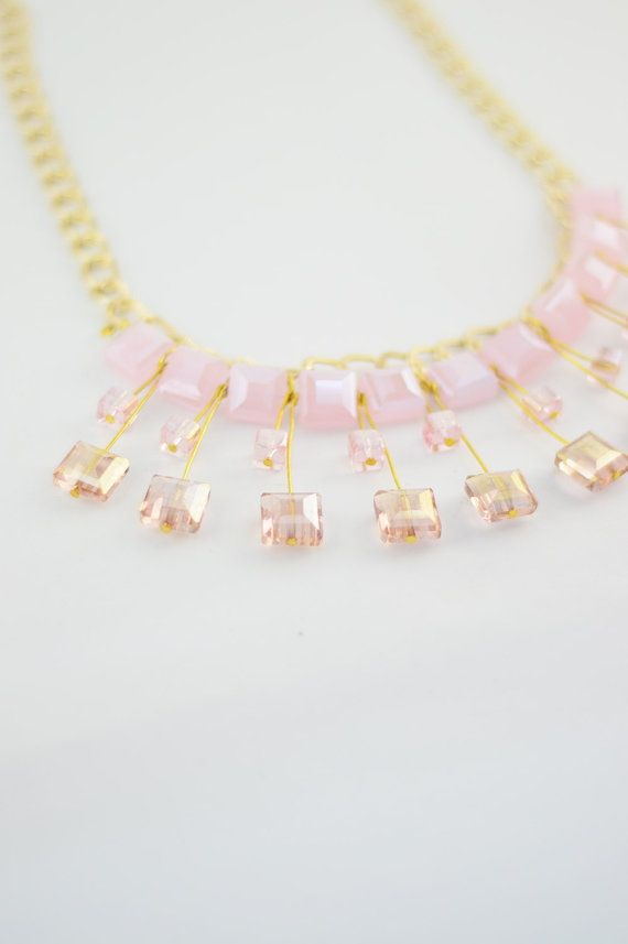 FREE SHIPPING Gems Pink Statement Necklace, Gold Plated Necklace, Beaded Jewelry, Women Accessory, Boho Necklace, Gift For Her