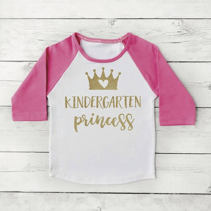 Kindergarten Shirt, Kindergarten Princess Girl First Day of School Photo Prop Pink and Gold 1st Day of Kindergarten Shirt 302 #1st_day_of_school #back_to_school #Children