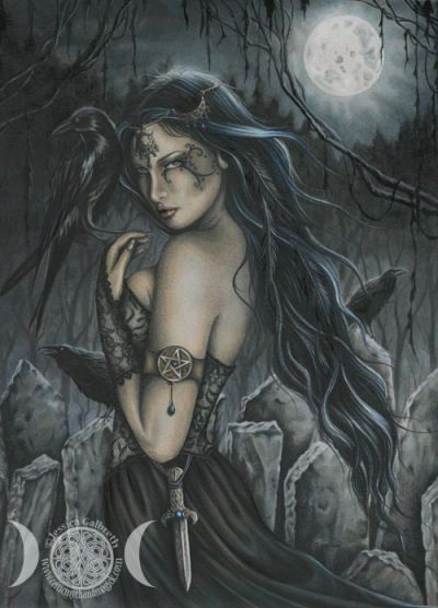 """The Morrigan is a goddess of battle, strife, and fertility. Her name translates as either """"Great Queen"""" or """"Phantom Queen,"""" and both epithets are entirely appropriate for her. The Morrigan appears as both a single goddess and a trio of goddesses. The other deities who form the trio are Badb (""""Crow""""), and either Macha (also connotes """"Crow"""") or Nemain (""""Frenzy""""). The Morrigan frequently appears in the ornithological guise of a hooded crow. She is one of the Tuatha Dé Danann"""