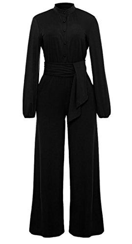 10e52f9aa3 ARTFFEL-Women ARTFFEL Womens Sexy Long Sleeve Belted Solid Color Wide Leg Romper  Jumpsuits Black 4XS
