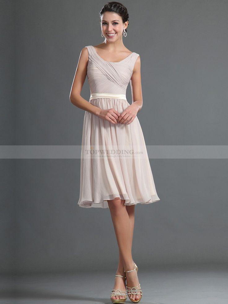 Simple Sleeveless Knee Length Chiffon Bridesmaid Dress with Ribbon Sash