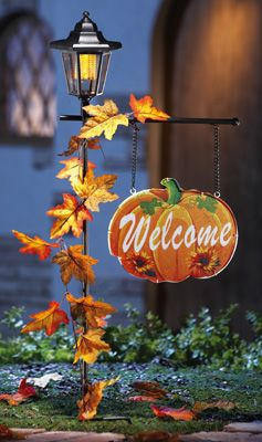 welcome pumpkin sign solar lantern diy halloween decorationsoutdoor - Solar Halloween Decorations
