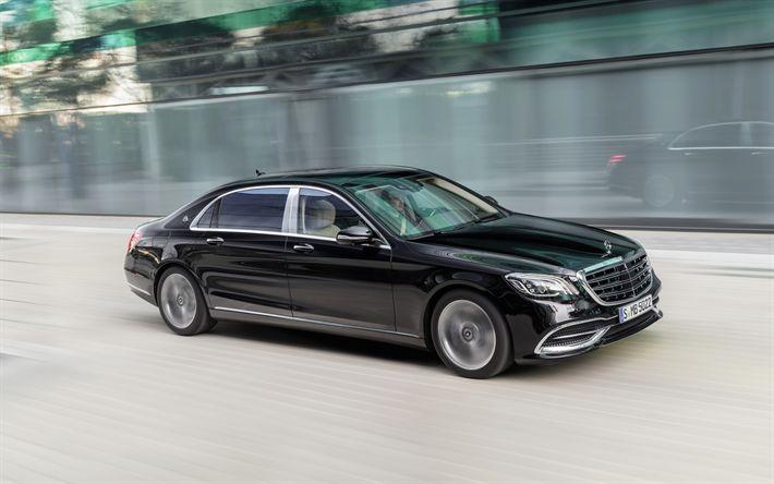 Download imagens 4k, Mercedes Maybach S560, 2017, 4Matic, De limusina, carros de luxo, preto Maybach, Carros alemães, Mercedes
