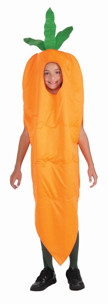 Carrot Child Costume Includes: Jumpsuit. Does not include stockings or shoes. Weight (lbs) 0.91 Length (inches) 15.5 Width (inches) 11 Height(inches) 2.5