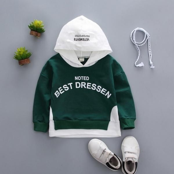 New Toddler Kids Baby Boys Hooded Sweatshirts Infant Letter Blouse Hoodies Tops