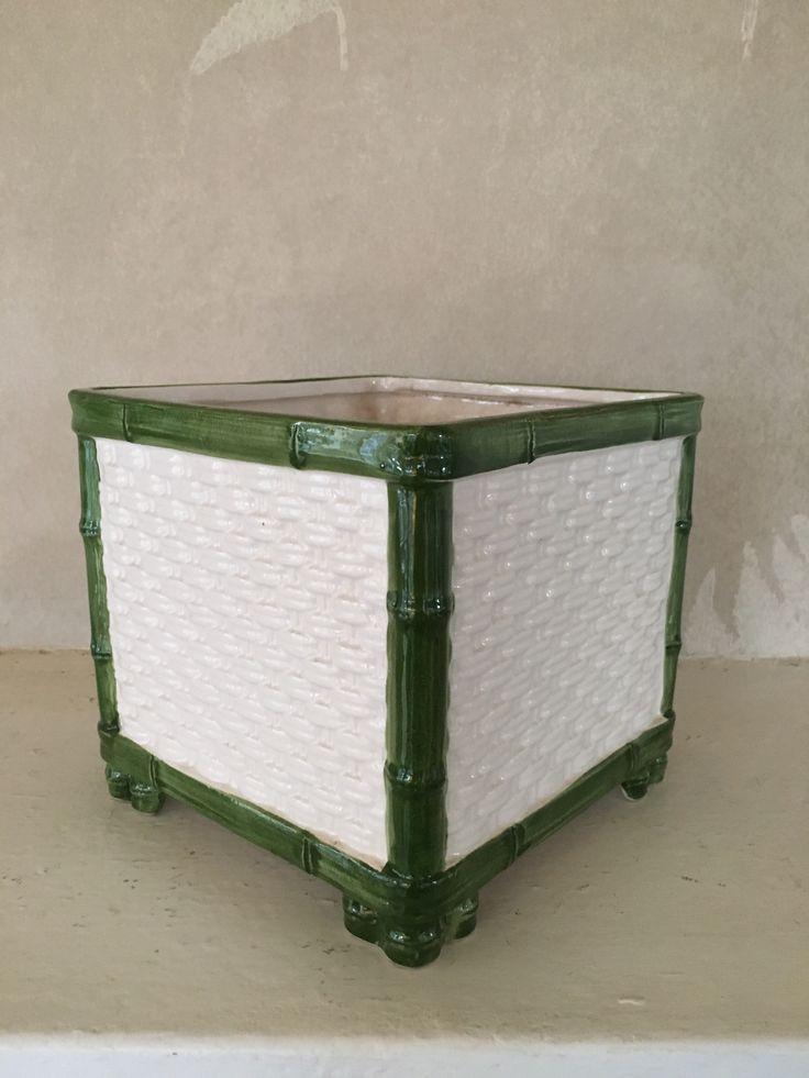 Vintage green & white bamboo planter  PKL The Cellar