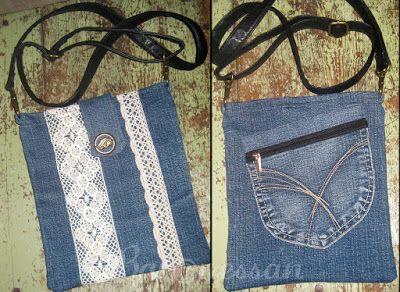 Väska gjord av återanvänt jeanstyg. Bag made from recykled jeans.