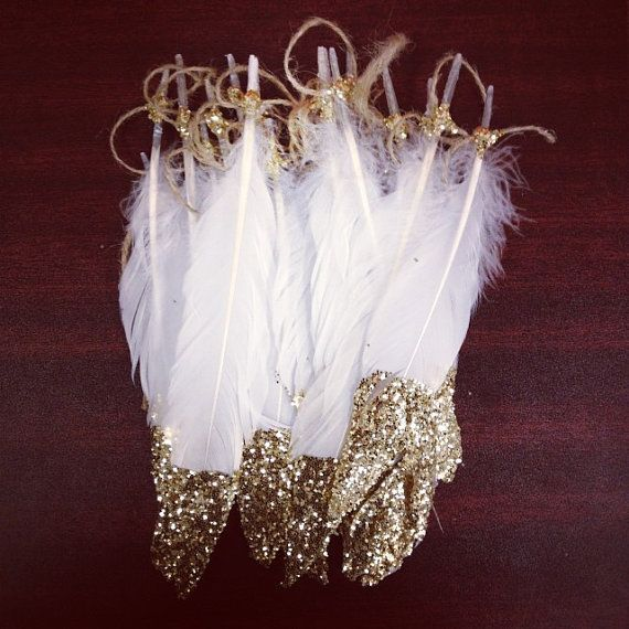 Gold tipped feather garland by GoldGlitterShop on Etsy