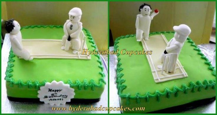 Cricket themed fondant cake for a cricket fan's birthday! Hyderabad Cupcakes - Custom Designer Fondant Cakes, Cupcakes, Cake Pops, Wedding Cakes & more!