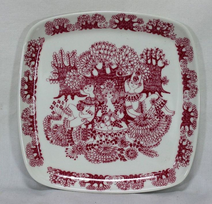 "Vintage Figgjo Flint Arden Square Plate 7.5"" Red Figural Made In Norway"