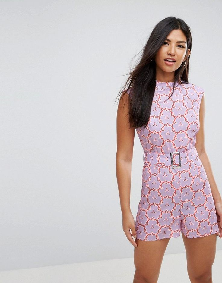 ASOS Romper with High Neck and Belt in Retro Floral Print - Purple