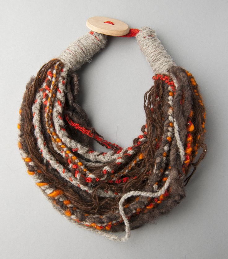 Small Scarf Necklace of Sheep and Alpaca Wool/Collar bufanda pequeño de lana de…