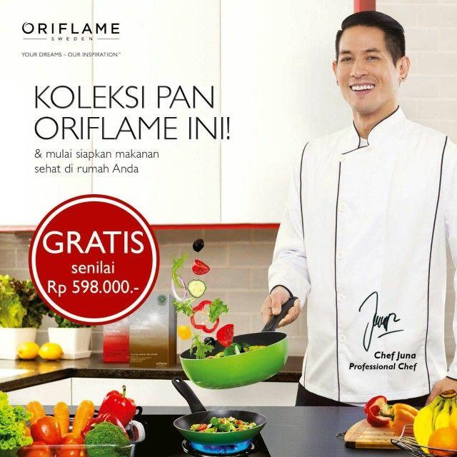 """Dapatkan GRATIS """"FEAST PAN SET"""" Frypan dan Deepwok Anti Lengket Spesial dari Chef Juna (Juri Masterchef Indonesia) senilai Rp 598.000,-  Hanya di bulan April saja! Grab it Fast!  Mau tau caranya?? Pin. 51FD064B WhatsApp. 082233991618   #promooriflameapril2016 #chefjuna #pan #panset #kitchen #kitchenset #masterchef #oriflame #bisnis #VVIPFamily #oriflameid #oriflamechangeslives"""