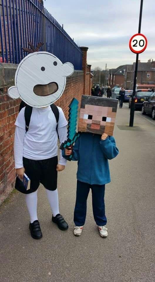 Costume World book Day Diary of Wimpy kid and Costume Minecraft Steve Disfraz Diario de Greg y Steve Minecraft