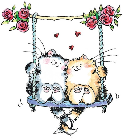 cat love - cats on a swing with entangled tails