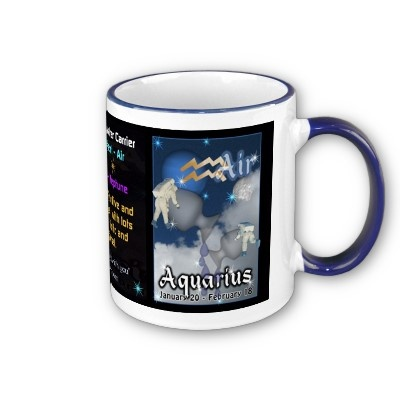 AQUARIUS DATE - January 20 - February 18 SYMBOL - The Water Carrier ELEMENT - Air PLANET - Neptune HOUSE - 11th CHARACTER - unconventional, futuristic, inventive, inspirational . Valxart Aquarius mug at $15.95