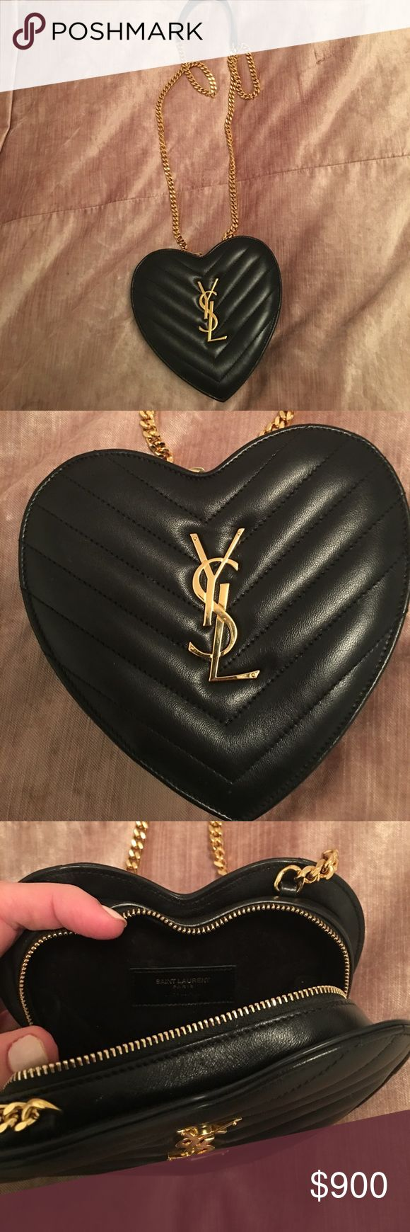 YSL Saint Laurent Love Heart Chain Bag in Black YSL heart-shaped bag with fixed leather and gold metal chain shoulder strap. 6.4 x 6.4 x 1.8 inches. In great condition with YSL dust bag. Barely used. Sold out online. Saint Laurent Bags Shoulder Bags