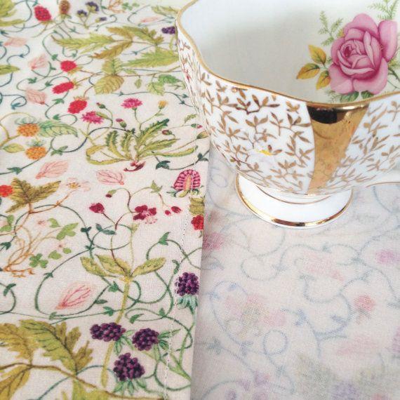 Cotton Cloth Table Napkins Original Watercolour by strawberrysnail