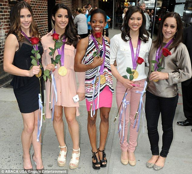 USA... Fab Five gymnasts wearing their gold at Letterman in NY
